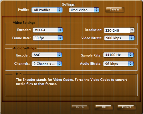 Mac Video Converter Settings