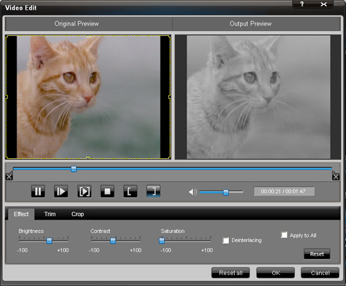 How to convert HD/MTS files Effect