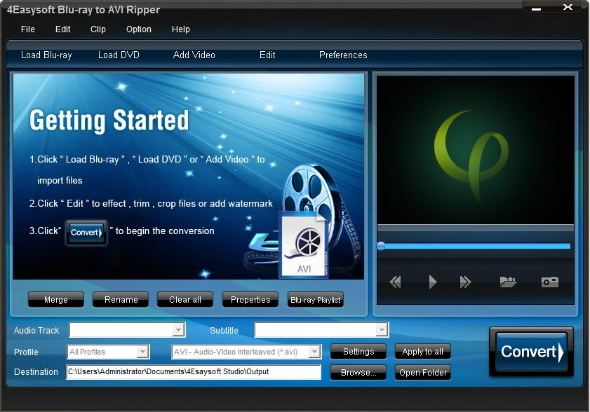 Click to view 4Easysoft Blu-ray to AVI Ripper screenshots