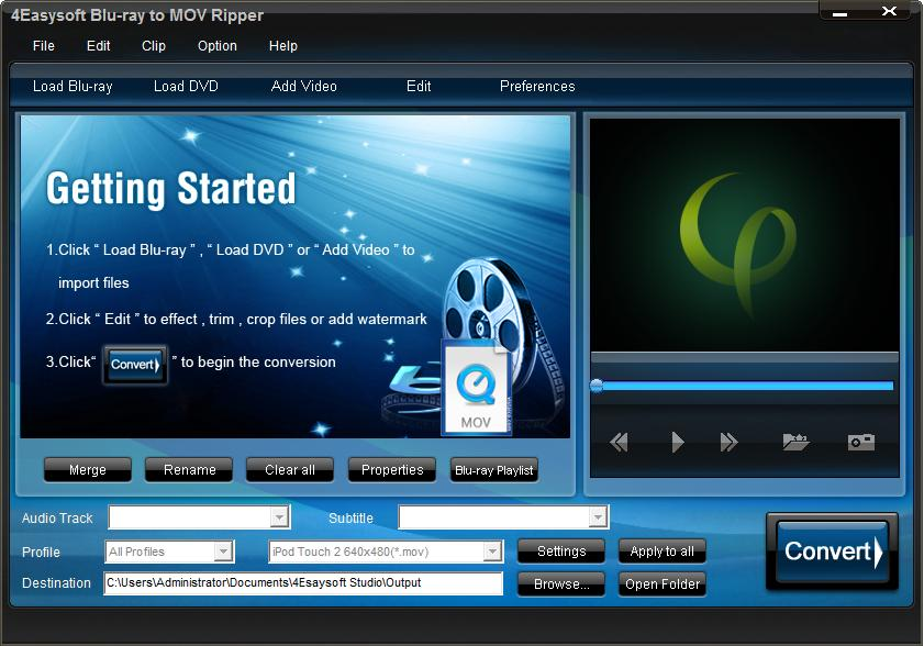 Click to view 4Easysoft Blu-ray to MOV Ripper screenshots