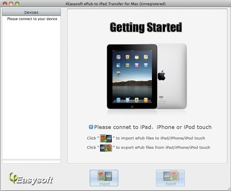 Screenshot of 4Easysoft ePub to iPad Transfer for Mac 3.1.08