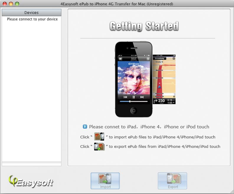 Transfer ePub files from Mac to iPhone 4G.