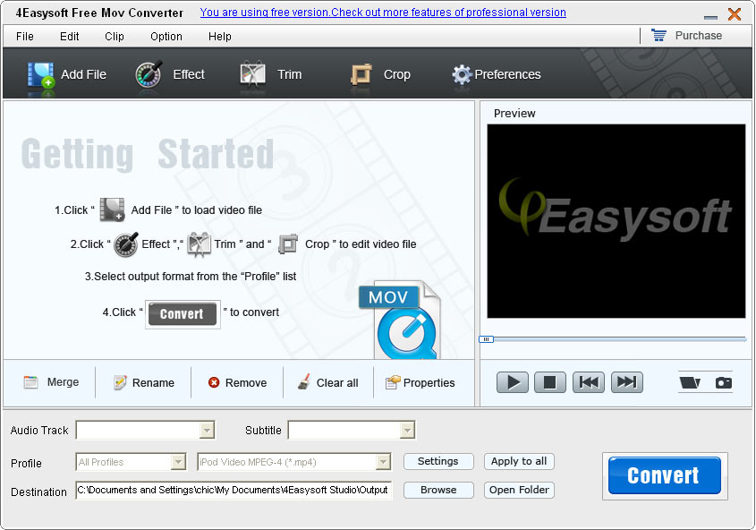 4Easysoft Free MOV Converter 3.3.08 Screen shot