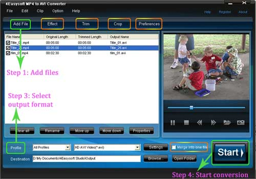 MP4 to AVI converter