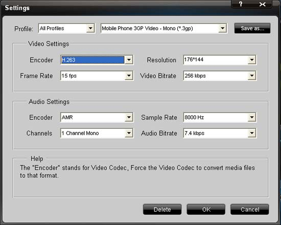 3GP Video Converter -settings
