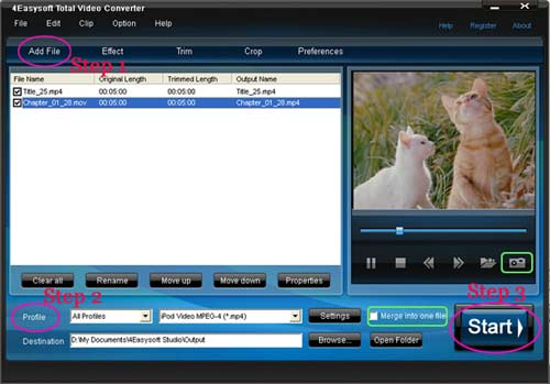 Total Video Converter steps