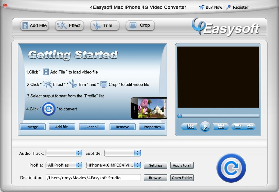 4Easysoft Mac iPhone 4G Video Converter screenshot