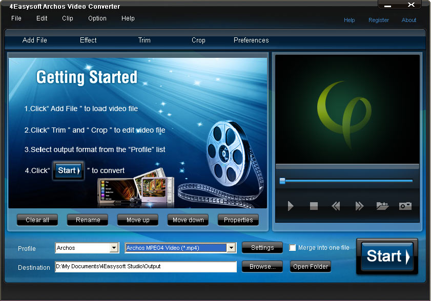 Click to view 4Easysoft Archos Video Converter 4.0.26 screenshot