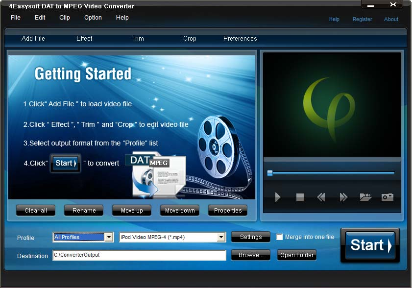 Click to view 4Easysoft DAT to MPEG Video Converter 3.1.18 screenshot