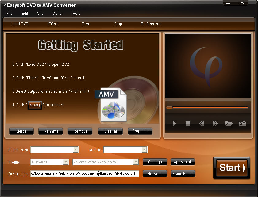 4Easysoft DVD to AMV Converter Screen shot