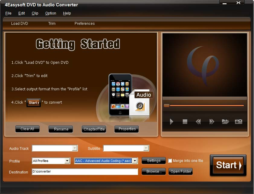 4Easysoft DVD to Audio Converter Screen shot