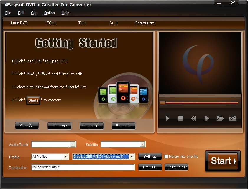Screenshot of 4Easysoft DVD to Creative Zen Converter
