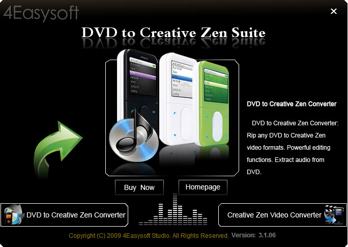 Click to view 4Easysoft DVD to Creative Zen Suite screenshots