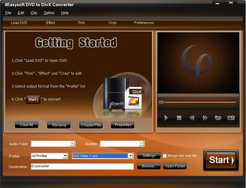 4Easysoft DVD to DivX Converter Screen shot