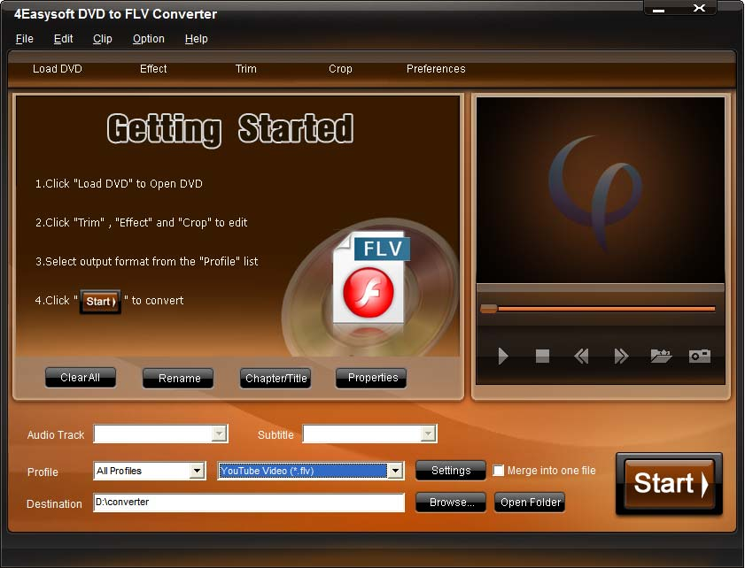 Click to view 4Easysoft DVD to FLV Converter 3.1.10 screenshot