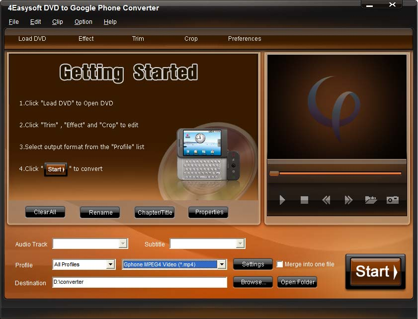 4Easysoft DVD to Google Phone Converter screenshot