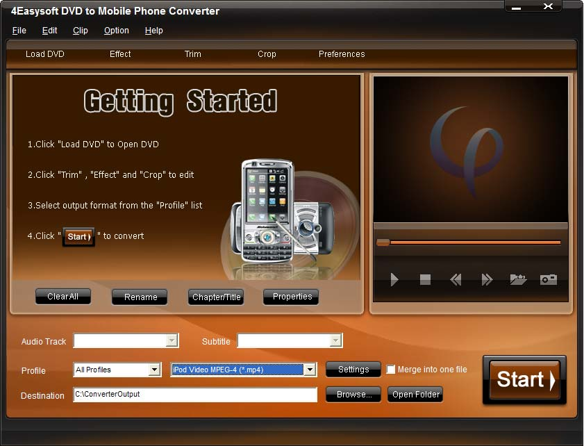 Screenshot of 4Easysoft DVD to Mobile Phone Converter