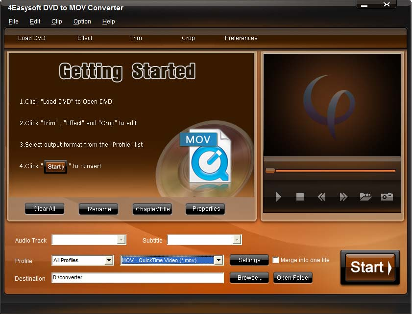Click to view 4Easysoft DVD to MOV Converter 3.1.06 screenshot