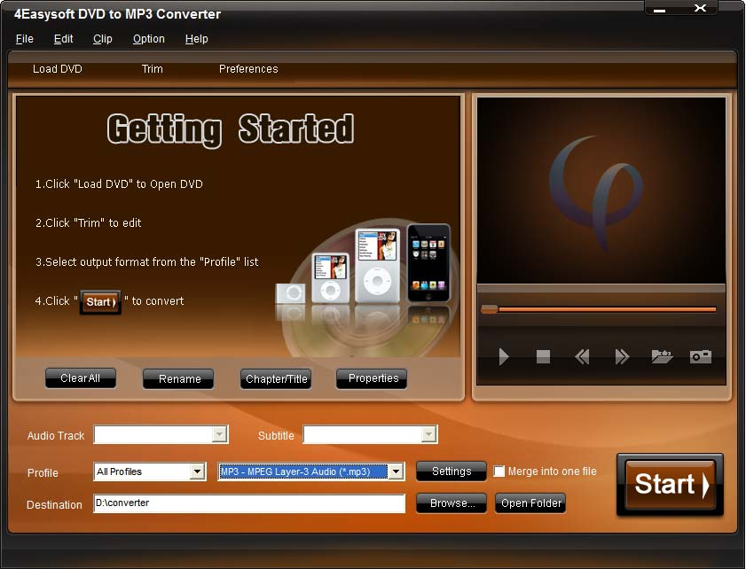 Click to view 4Easysoft DVD to MP3 Converter screenshots
