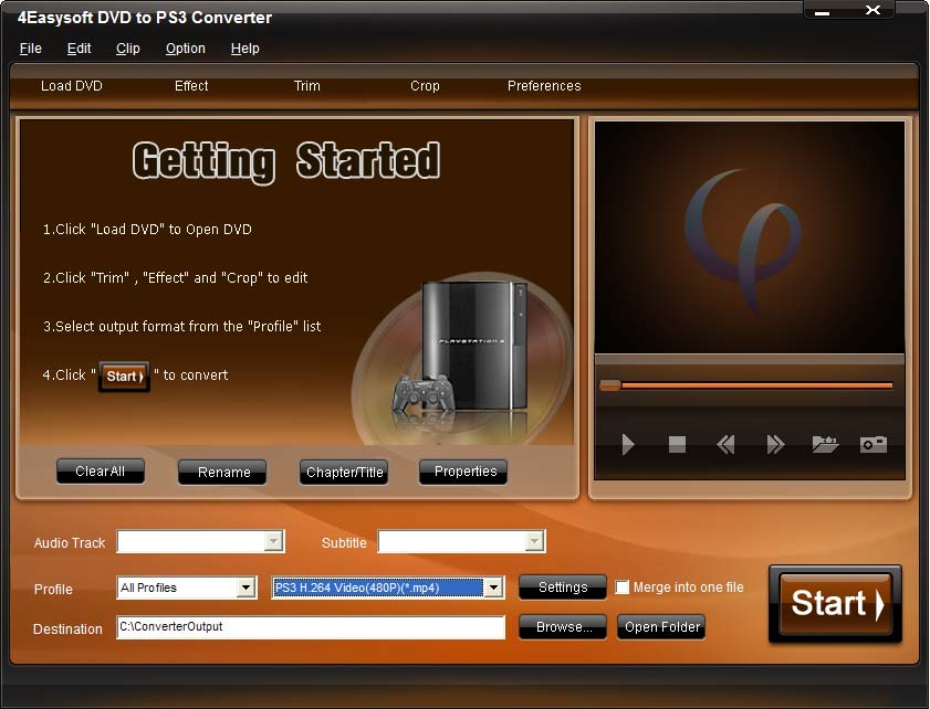 Click to view 4Easysoft DVD to PS3 Converter 3.1.10 screenshot