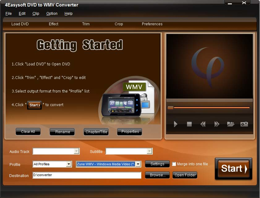 Click to view 4Easysoft DVD to WMV Converter 3.1.08 screenshot