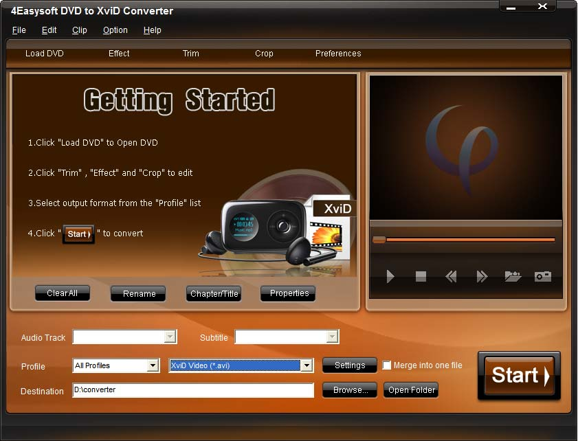 Click to view 4Easysoft DVD to XviD Converter 3.1.08 screenshot