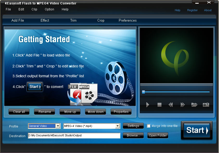 4Easysoft Flash to MPEG4 Video Converter Screen shot