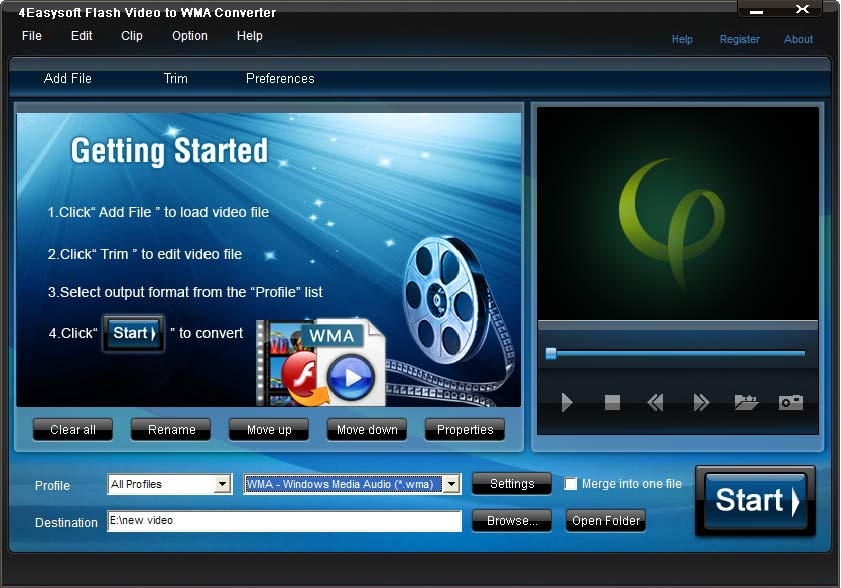 Screenshot of 4Easysoft Flash Video to WMA Converter