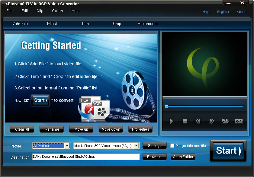 Click to view 4Easysoft FLV to 3GP Video Converter 3.1.06 screenshot