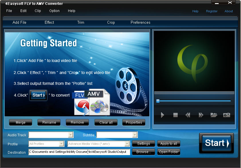 Click to view 4Easysoft FLV to AMV Converter screenshots
