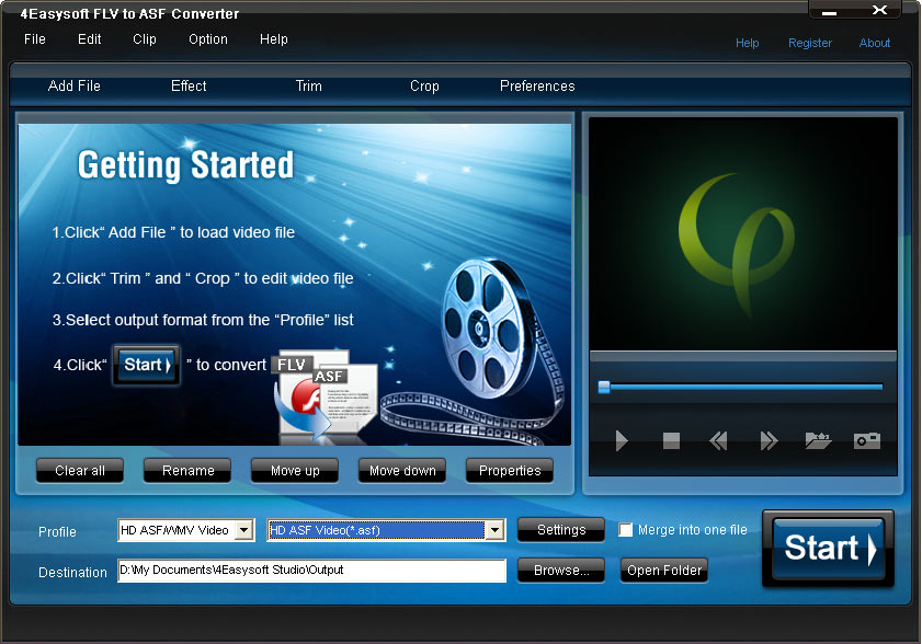 Click to view 4Easysoft FLV to ASF Converter 3.1.22 screenshot