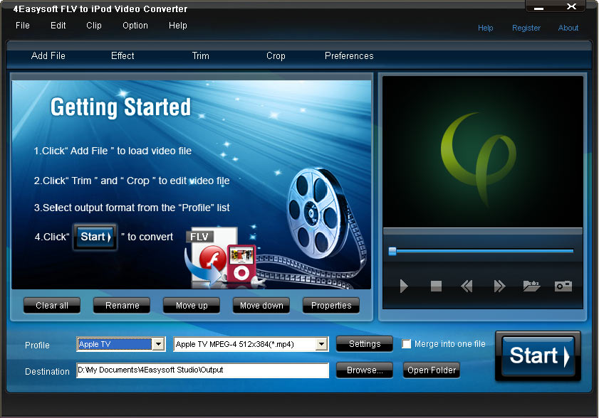 4Easysoft FLV to iPod Video Converter screenshot