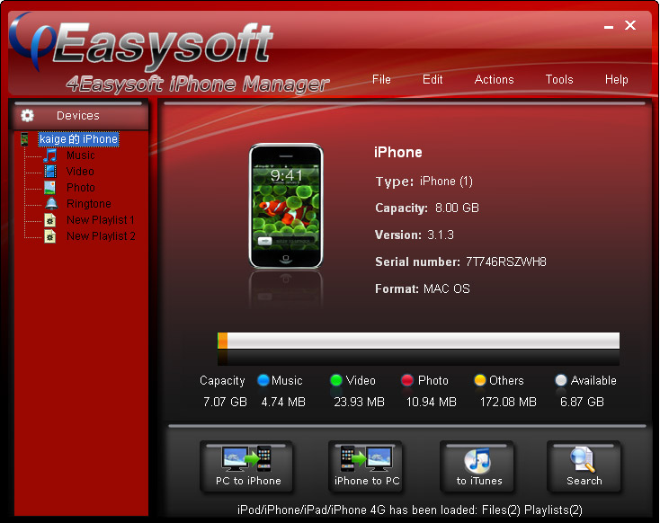 4Easysoft iPhone Manager Screen shot