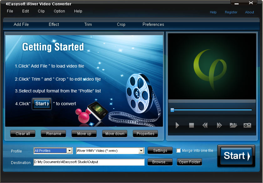 Screenshot of 4Easysoft iRiver Video Converter