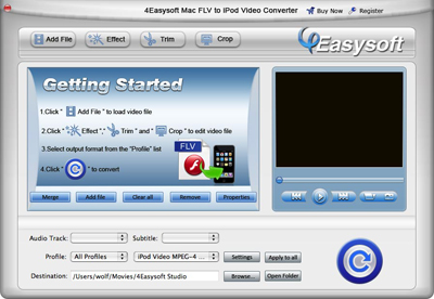 Help document of Mac FLV to iPod Video Converter