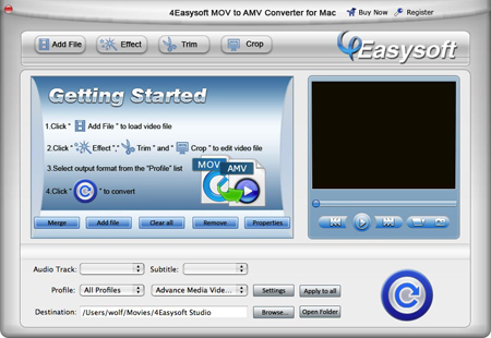 Help document of MOV to AMV Converter for Mac