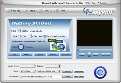 Help document of WMV to AMV Converter for Mac
