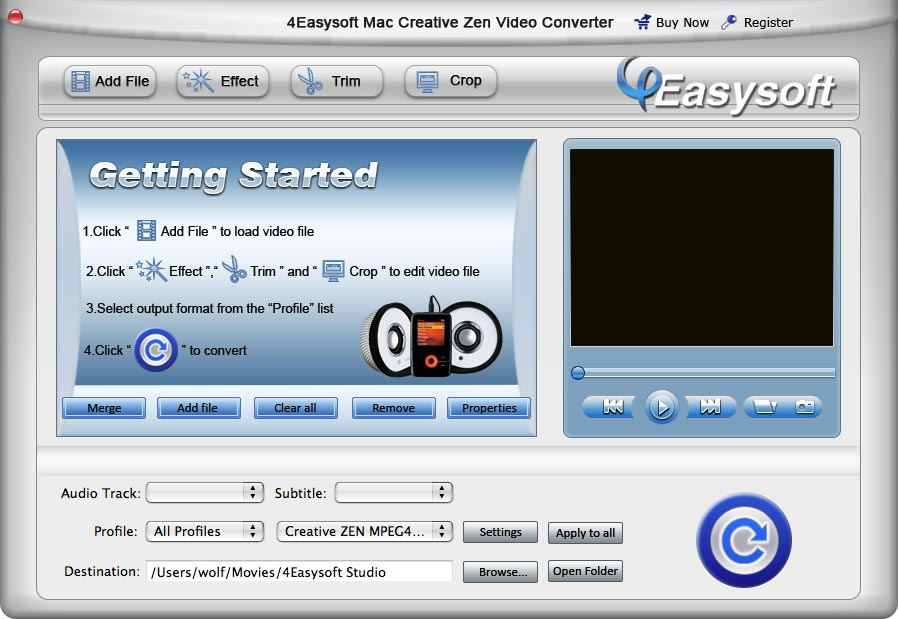 4Easysoft Mac Creative Zen Video Converter screenshot