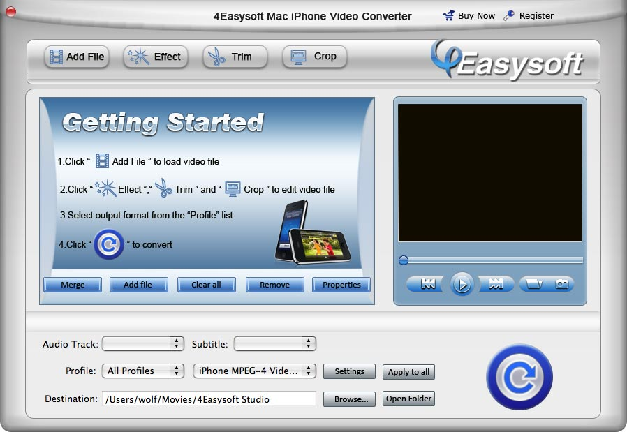 Screenshot of 4Easysoft Mac iPhone Video Converter 3.1.12
