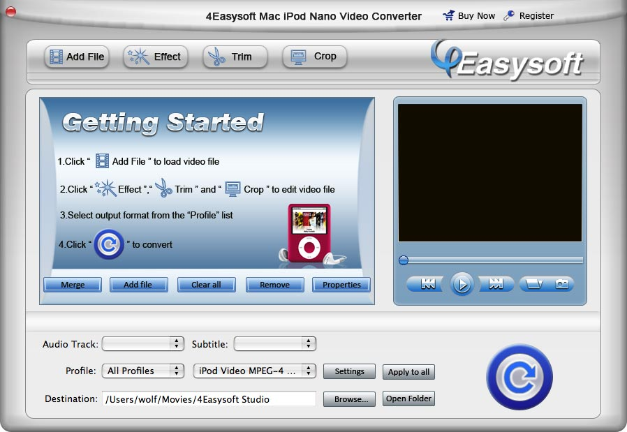 Screenshot of 4Easysoft Mac iPod nano Video Converter