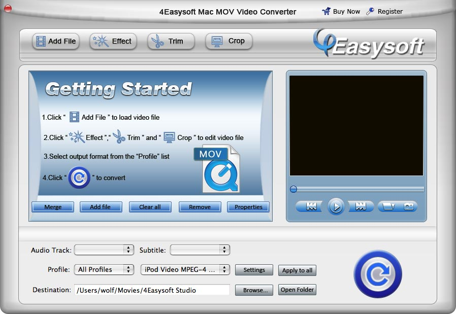 4Easysoft Mac MOV Video Converter screenshot