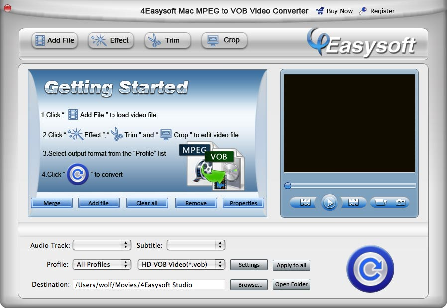 Convert MPEG/MPG to VOB on Mac