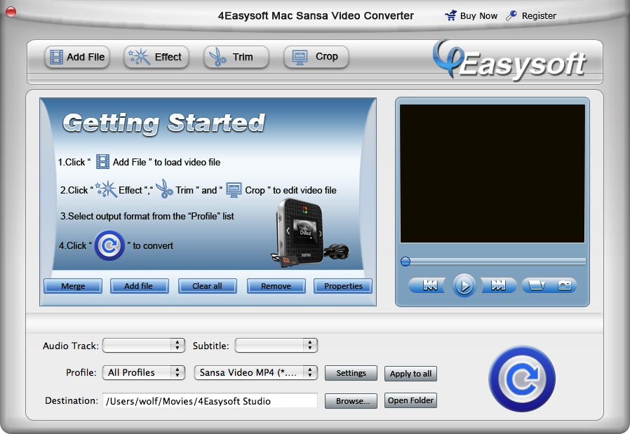 4Easysoft Mac Sansa Video Converter
