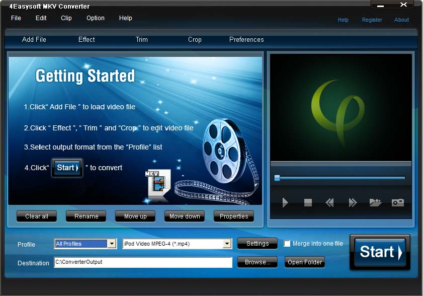Convert MKV files to the video and audio supported by most media players.