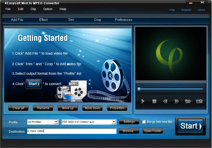 Click to view 4Easysoft Mod to MPEG Converter 4.0.16 screenshot