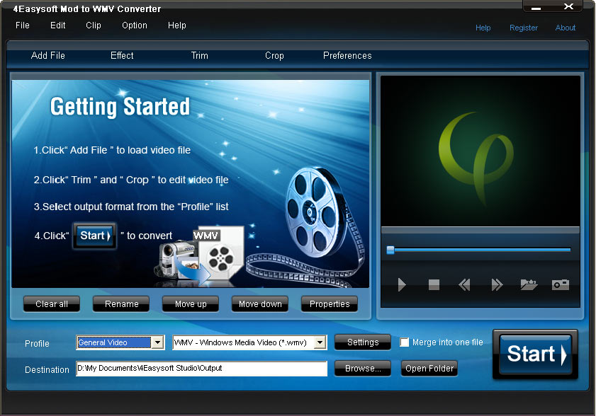Click to view 4Easysoft Mod to WMV Converter 3.3.28 screenshot