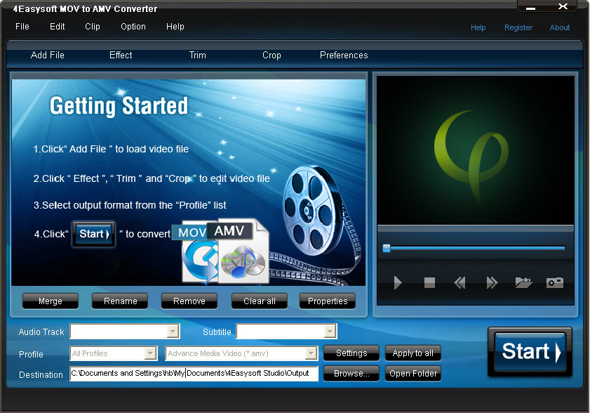 Click to view 4Easysoft MOV to AMV Converter screenshots