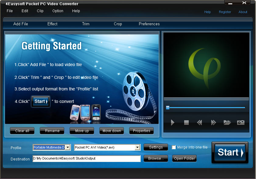 Click to view 4Easysoft Pocket PC Video Converter screenshots