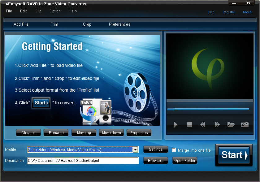 Click to view 4Easysoft RMVB to Zune Video Converter screenshots