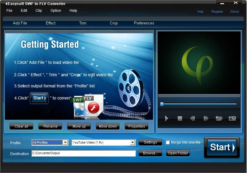 Click to view 4Easysoft SWF to FLV Converter 3.1.28 screenshot